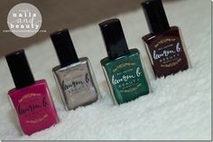 Out of the 16 new shades that were released, I added four nail polish shades to my repertoire from the Lauren B. Pastel Nail Polish, Winter Colors, Jewel Tones, Winter Collection, Beauty Nails, Swatch, Perfume Bottles, Fall Winter, Perfume Bottle