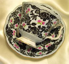 Royal Albert England ~ True Love ~ Black Lace & Pink Rose ~ Tea Cup & Saucer