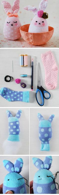Easter Bunny Softies From Socks | DIY Easter Decor Ideas for the Home