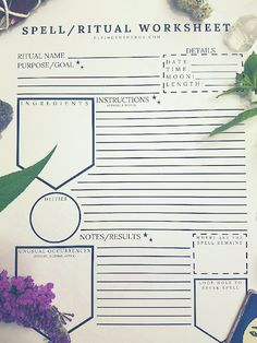 Flying the Hedge: Spell & Ritual Worksheet/Log Grimoire Book, Wicca Witchcraft, Wiccan Sabbats, Witch Spell, Practical Magic, Planner, Book Of Shadows, Spelling, Worksheets