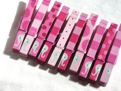 10 Elefantes rosas pinzas magnéticas pintados a mano