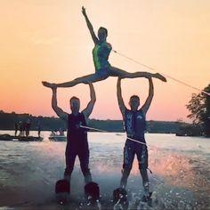 sunset trios  |  water skiing, show skiing