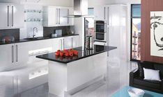 Gloss  Gloss kitchens have always given huge pleasure to those who enjoy clean lines. Simplicity or striking decor, both routes are within your grasp.   Gloss has been strengthened with bold handles but left clean, uncluttered and functional.
