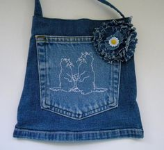 Cat Lovers on recycled back pocket bag with 2 original cats holding hands by SarahYsCottage,