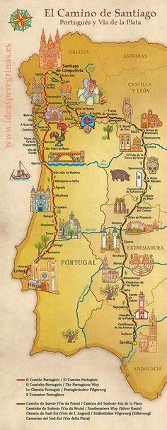 Map showing different routes for the Portuguese Camino de Santiago