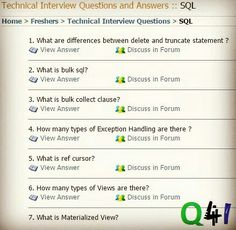 SQL Interview Questions And Answers Section Asked In Various Companies At  Freshers And Experience Level. Post Your Answer In Each Question Discussion  Forum ...