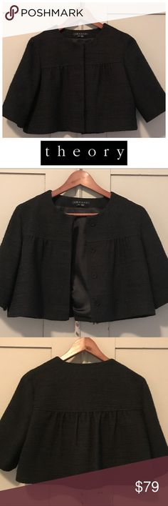 "Theory Crop Tweed Tilford Jacket Timeless Theiry cropped jacket in beautiful black tweed with a subtle hint of gold. Perfect for work, with jeans, or for a special occasion. This piece sold out fast!  3/4 length sleeves. 15"" from shoulder to hem. Dry clean. Theory Jackets & Coats"