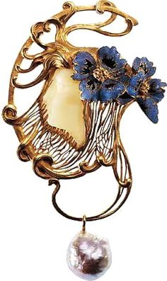 Lalique 1898-99 'Woman Wearing Two Poppy Flowers' Pendant: pierced/ chased/ engraved gold: carved white chalcedony face, translucent & opaque enamel on gold, pearl drop   marinni.livejournal.com