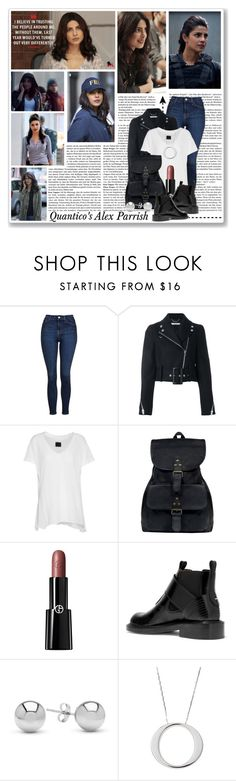 """Quantico's Alex Parrish"" by queenrachietemplateaddict ❤ liked on Polyvore featuring Topshop, Givenchy, RtA, Giorgio Armani, Maison Margiela, Jewelonfire, Roberto Coin, TV, Quantico and AlexParrish"