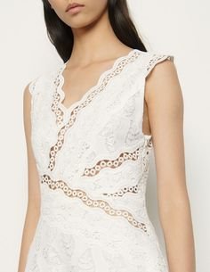 Long sleeveless dress broderie anglaise SFPRO01184 white - Dresses | Sandro Paris