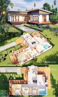 Stunning Three-bedroom Bungalow on a Platform with Extended Balcony - House And Decors Bungalow Haus Design, Modern Bungalow House, Modern House Plans, Small House Plans, 3 Bedroom Bungalow, Sims House Plans, House Layout Plans, House Layouts, House Floor Plans