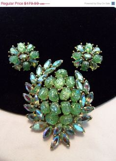 Vintage Brooch Bouquet: Green and Gold by v385 on Etsy