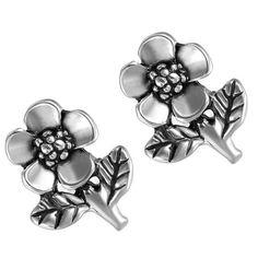 Womens Antique Silver Stainless Steel Flower Stud Earrings