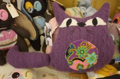 pretty purple kitty with belly made from vintage fabric