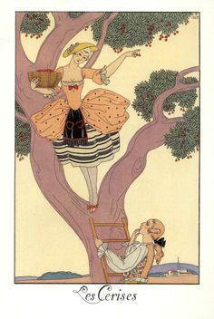 George Barbier (1882-1932) - French Art Deco Fashion Illustrator - Cherries