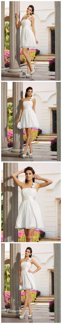 A Princess One-Shoulder Sleeveless Chiffon  Mini Hand-Made Flower Dresses.So beautiful  prom dress.