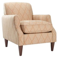 Arm chair with an orange diamond motif and espresso-finished legs. Made in the USA.  Product: ChairConstruction Mate...