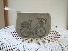Retro bicycle new in Etsy shop...great for coins and a great stocking stuffer.  Love the embroidery!