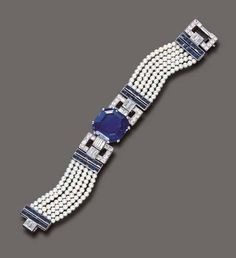 The Doris Duke Collection of Important Jewelry. An elegant sapphire, diamond and seed pearl bracelet, by Cartier. Cartier Bracelet, Sapphire Bracelet, Cartier Jewelry, Sapphire Jewelry, Diamond Bracelets, Pearl Bracelet, Antique Jewelry, Jewelry Bracelets, Vintage Jewelry