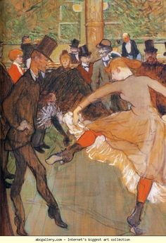 "Henri de Toulouse-Lautrec. Dressage des nouvelles, par Valentin le Désossé / Training of the New Girls by Valentin ""the Boneless"" (Moulin-Rouge). Detail. Olga's Gallery."