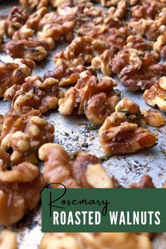 These simple, healthy Rosemary Roasted Walnuts are perfect for snacking or adding to salads. They are flavored with rosemary, salt and nutmeg, and taste great despite having no added sugar. This easy recipe is Paleo, Whole30, and Vegan. #paleo #vegan #whole30 Paleo Nuts, Paleo Vegan, Grain Free, Dairy Free, Toast In The Oven, Roasted Walnuts, Oven Roast, Whole30, Paleo Recipes