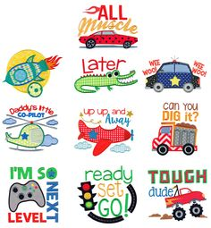 All Boy Applique Machine Embroidery Designs by JuJu Applique Designs Free, Machine Applique Designs, Machine Embroidery Patterns, Quilt Patterns, Embroidery Store, Shirt Embroidery, Embroidery Stitches, Embroidery Files, Brother Embroidery Machine