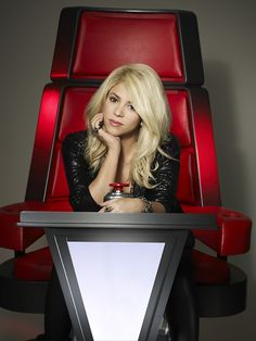 Hello Shakira - we think that big red chair looks pretty good on you! #TheVoice #VoiceS4 #TeamShakira