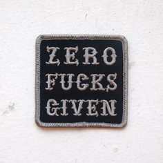 Zero Fucks Given Patch from VNM  This counts as typography, right?