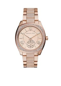 Michael Kors Rose Gold-Tone and Blush Bryn Watch - Rose gold-tone plating and romantic blush acetate offer a fresh mix of hues in the New Bryn watch.