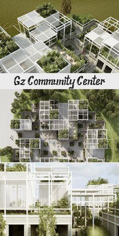 Gz Community Center - Poppy's Page Architecture Concept Diagram, Green Architecture, Futuristic Architecture, Ancient Architecture, Sustainable Architecture, Architecture Details, Landscape Architecture, Pavilion Architecture, Residential Architecture