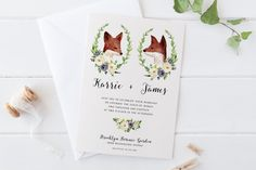 Printable Woodland Wedding Invitation Set,Romantic Portrait Bohemian Pink Navy Watercolor Wedding Suite,Green Leaves Floral Deer Fox Invites