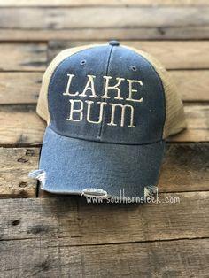 45452b56a8ea2e Lake Bum Distressed Trucker Hat – Southern Sleek Baseball Hats, Baseball  Caps, Baseball Hat