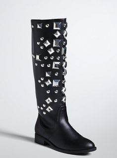 Oversize Studded Boots (Wide Width), BLACK