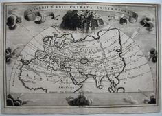 C1705 Veteris Orbis Windheads World Map Cellarius Orig Copperplate Engraving | eBay
