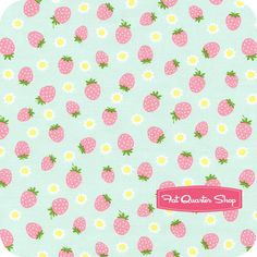Tiny Prints Collection Aqua Strawberries and Daisies Yardage SKU# 40192-70 - Fat Quarter Shop
