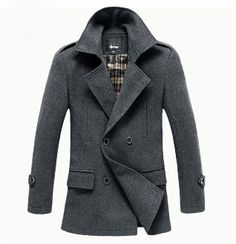 Men's Double Breasted Military Coat