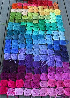 Rainbow Crochet Squares by Loretta Grayson; pieces for her Tetris Psychedelia tree cosy.