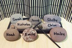 Zen Garden with 8 Engraved Name Rocks & Natural by SandStudios, $96.00 great to memorial for those who could not make a wedding
