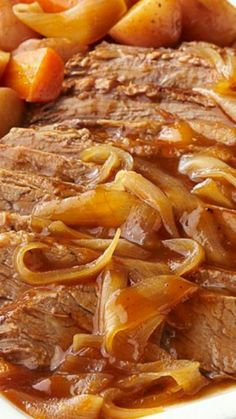 Slow-Cooker Barbecue Beef Brisket ~  Prepared with carrots, onions and red potatoes.