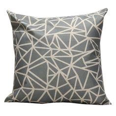 T'aimer Baumwolle Leinen Quadrat Sofa Auto Dekorative Kissenbezug Kissenhülle Kissen Fall 45 x 45cm - Geometrische Muster Dreieck Viereck (Grau Beige)