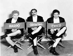 Full publicity shot of Harpo Marx, Groucho Marx and Chico Marx / A Night at the Opera, 1935