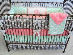 Mint, Gray & Coral Baby Girl Bedding : Skye by PolkaToTBedding on Etsy https://www.etsy.com/listing/237654749/mint-gray-coral-baby-girl-bedding-skye