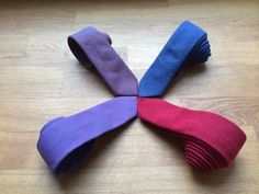 Denim slim ties. All vegan and fair-trade, made in Europe by two small professional sewing businesses. www.artisara.com