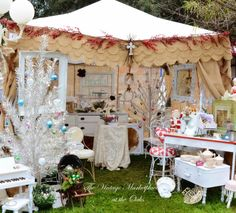 The Vintage Marketplace: Fancyful Finds, The Shabby French Home, Junk Art Gypsyz, Fancy Junk Designs ~ love the scalloped burlap tent cover