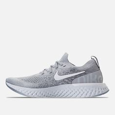 4873954f23ef Left view of Men s Nike Epic React Flyknit Running Shoes in Wolf Grey White