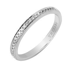 This 14k white gold ring features 0.10 Carat T.W. pavé diamonds that are set across the band and wrap around the edges in a channel design.