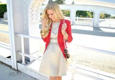 red blazer + shimmery neutral dress