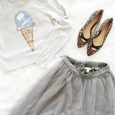LC Lauren Conrad for Kohl's Ice Cream Sweater, Tulle Midi Skirt and Leopard Flats
