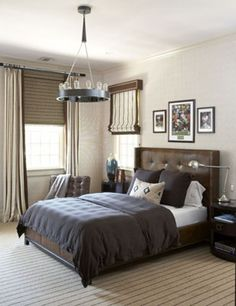 Window treatement- woven shade installed above window plus drapes. Rinfret, Ltd.