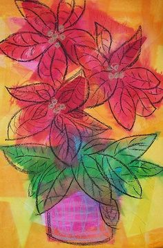 Tissue collage poinsettia by Tissue and oil pastel. beautiful =) Looks like bleeding tissue was used over the oil pastel sketch Christmas Art Projects, Winter Art Projects, School Art Projects, Tissue Paper Art, 6th Grade Art, Kindergarten Art, Art Lessons Elementary, Art Lesson Plans, Art Classroom